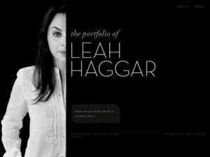 Screen Cap of website home page for artist Leah Haggar, featuring a photograph of the artist and her name set against a black background