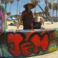 Glenn & Julia (with Julia's JEM logo) at the Venice Beach Legal Art Walls, Summer 2014
