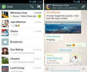screen cap of WhatsApp app