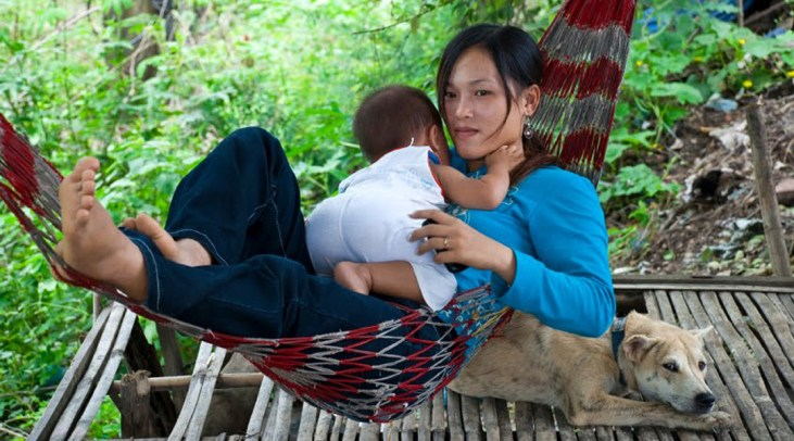 Woman and child in a hammock