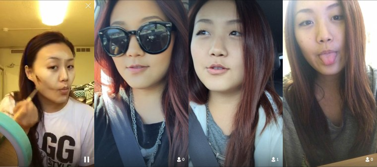 4 screen caps of Natalia Chang's Periscope broadcasts featuring applying makeup, wearing sunglasses, out on the weekend, and finally removing makeup at the end