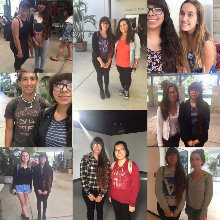 montage of selfies with Jennifer Palacios and other Art110 students