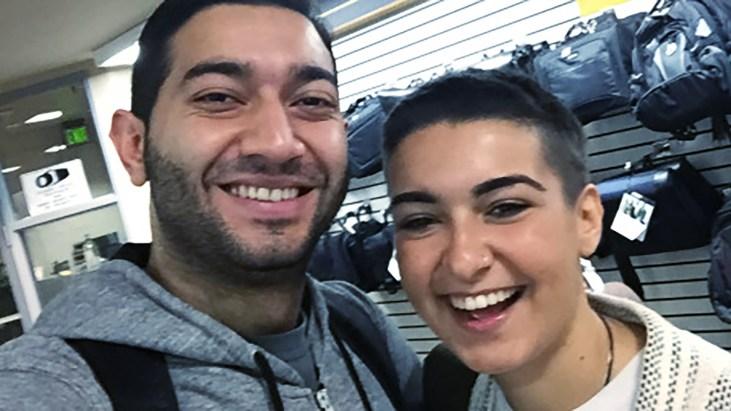 Ramtin Yousefi & Marta Troya smiling for the camera in the CSULB University Bookstore