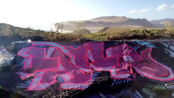 """Large """"LAYLA"""" letters painted with spray paint"""