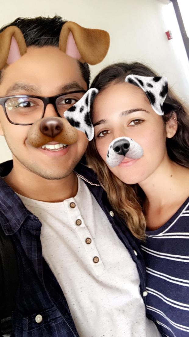 Alex Miramontes & Monique Alcala in a Snapchat photo
