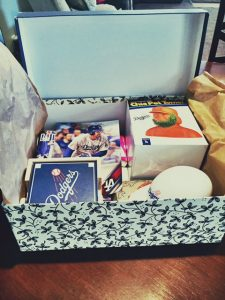 Photo of an Art Care Package featuring a variety of Dodger Ephemera