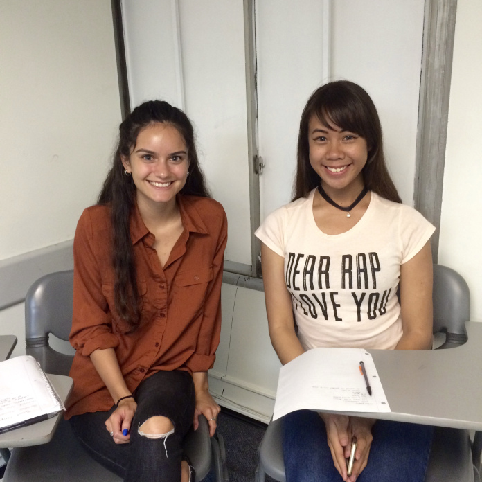 Erika Perez & Jessica Obrique sitting in room FA4-311 at the California State University Long Beach, School of Art