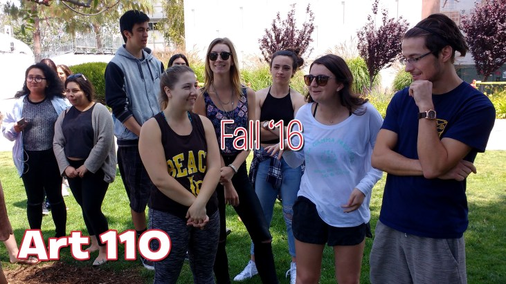 "The words ""Art 110, Summer '16"" superimposed on a photo of students standing in a grassy area between building Fine Art 4 and the Art Gallery Courtyard, at California State University, Long Beach, School of Art, May 2016"