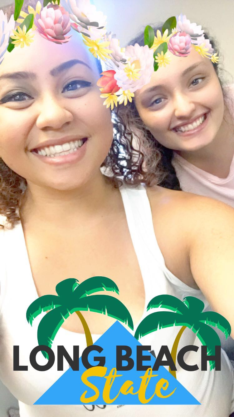 "Hailei Reyes & Valeria Gonzalez in a Snapchat ""Long Beach State"" selfe in room FA4-311 at CSULB"
