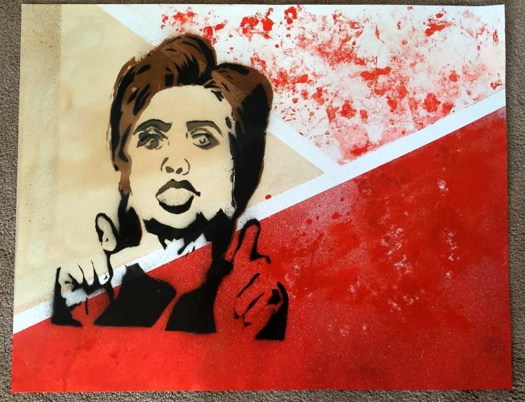 stencil art of Hillary Clinton