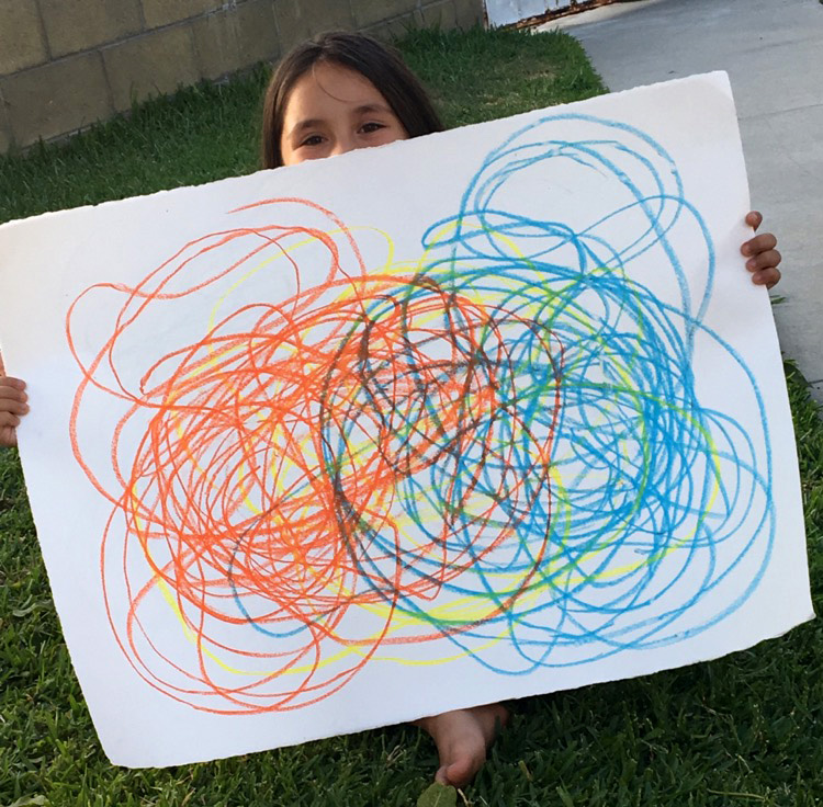 Alex Miramontes' sister Taylor with the Automatic Drawing they made together