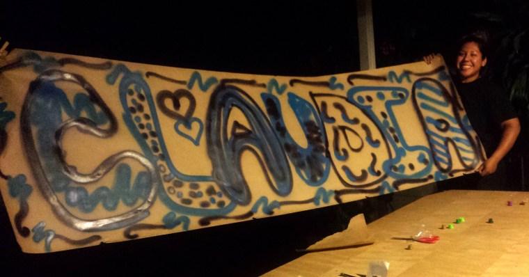 """Claudia"" in spray paint"