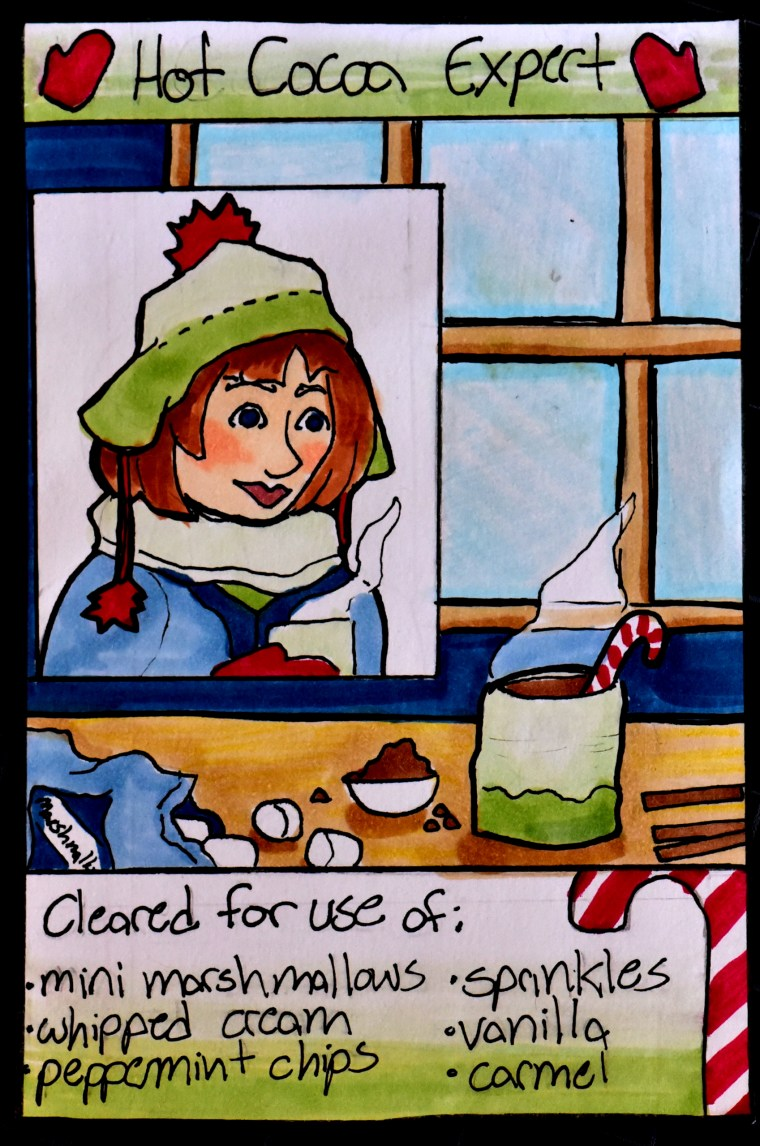 Marker illustration of a winter / holiday themed student ID card by Hannah Adams