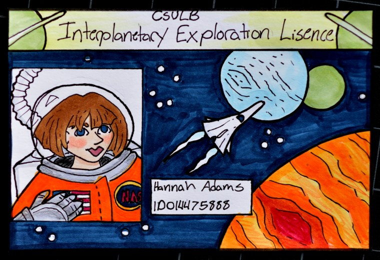 Illustration of Hannah Adams ID card as an Interplanetary Explorer's ID card