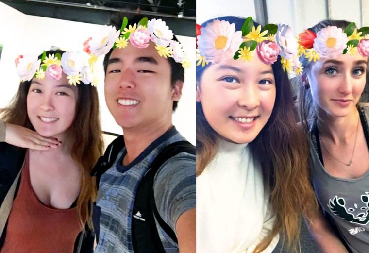 Jamie Van & friends wearing floral wreaths courtesy of Snapchat