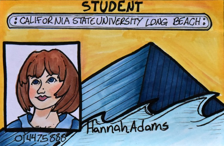 "drawing of a CSULB Student ID card on a 4x6"" index card"