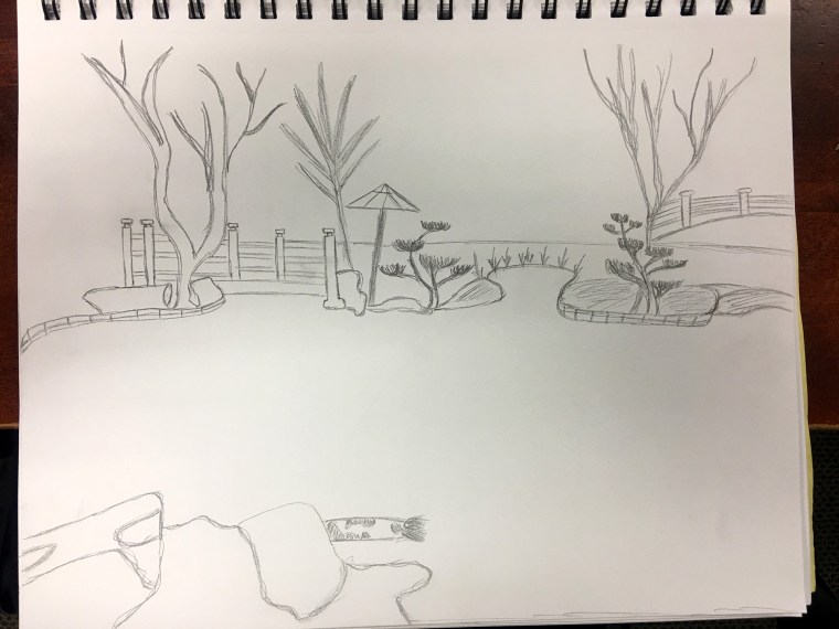 pencil sketch of the CSULB Earl Burns Miller Japanese garden by Brian Sath
