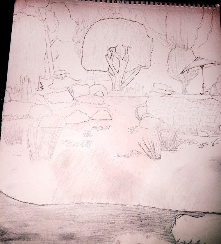 sketch of the pond area at the CSULB Earl Burns Miller Japanese Garden by Briana Garcia. Graphite on sketch pad. Draughting pencil.