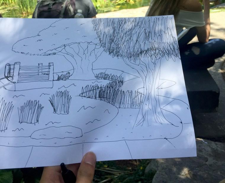 pencil sketch of the CSULB Earl Burns Miller Japanese Garden