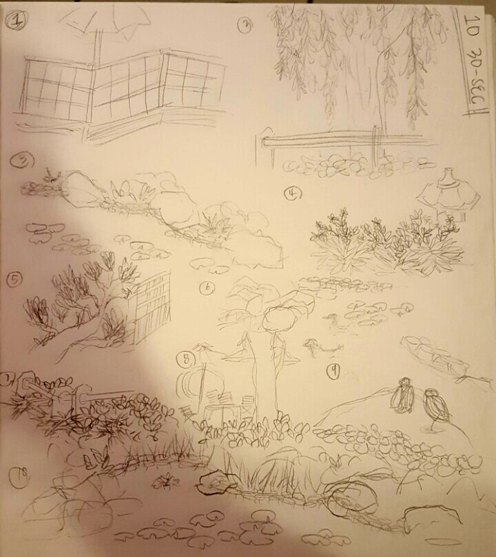 quick sketches from around the CSULB Japanese Garden by Lydia Chang