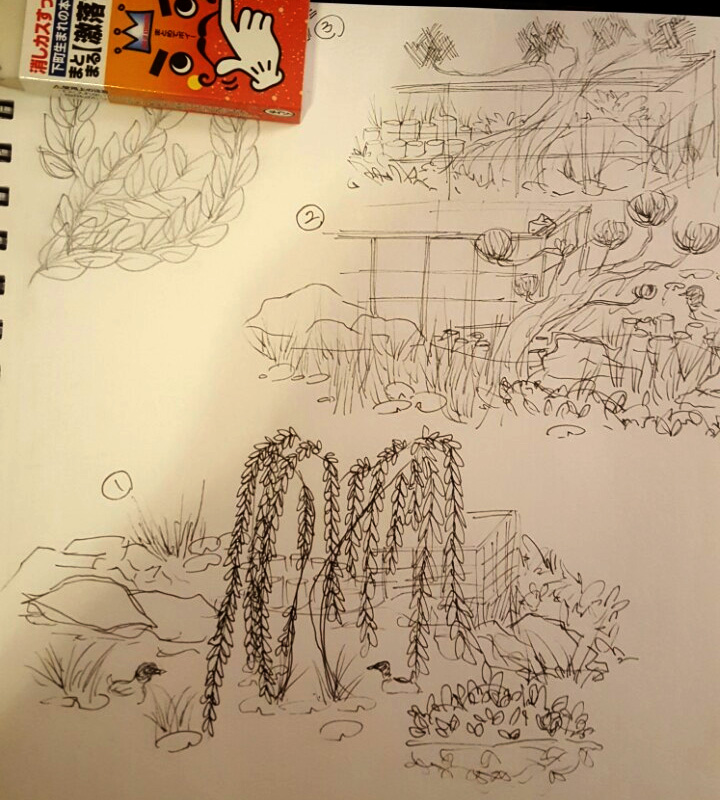 sketches in the Japanese Garden