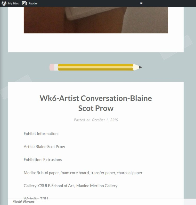 Nkechi Okoroma's website with a pencil and paper theme