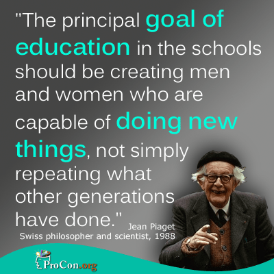 photo of Jean Piaget with a quotation