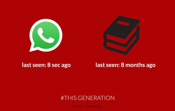 "illustration with a WhatsApp icon and a Book icon. Under the WhatsApp icon is the caption ""last seen 8 seconds ago"" and underneath the book icon is the caption ""last seen 8 months ago"""