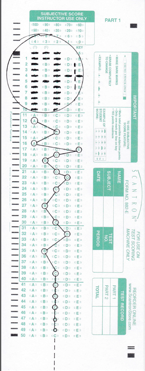 a scantron test form used as a sort of graph paper for a schematic diagram
