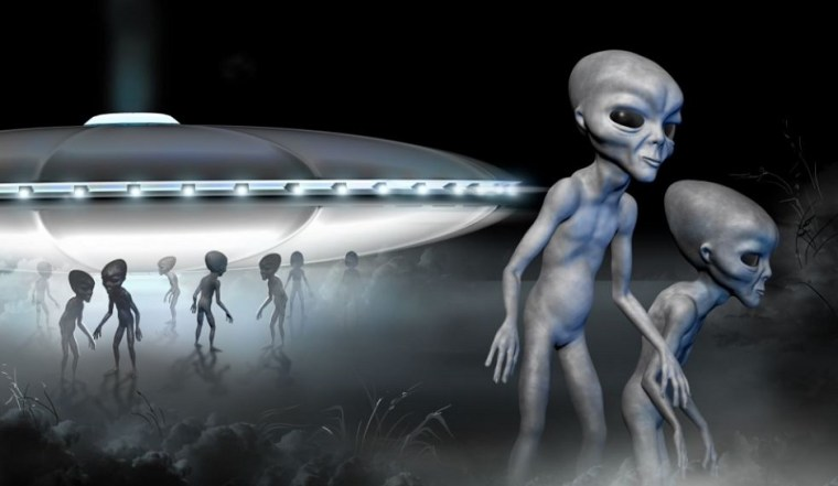 illustration of aliens coming off a space ship and exploring a landscape