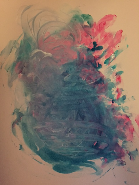 abstract finger painting in pink and green by Allison Cruz