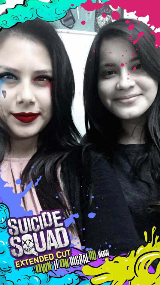 """Araceli Lozano & Jacqueline Sanches in a """"Suicide Squad: extended cut"""" Snapchat Overlay"""