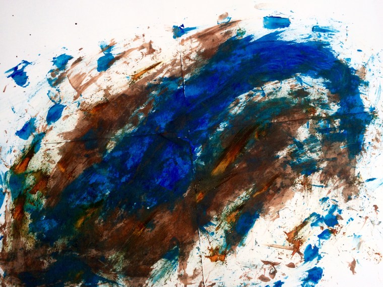 a dynamic finger painting on paper with a robust brown mass being swirled around by energetic blue waves of color