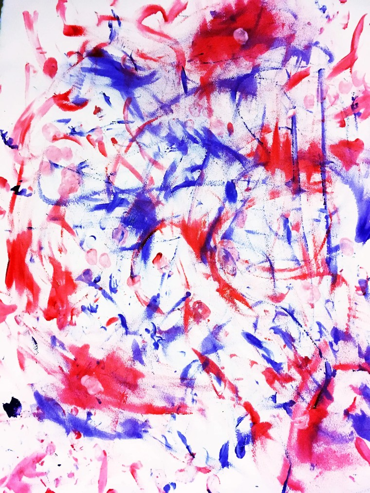 dramatic, dynamic finger painting on paper by Raul Silva. The painting features confident paint strokes in red and purple