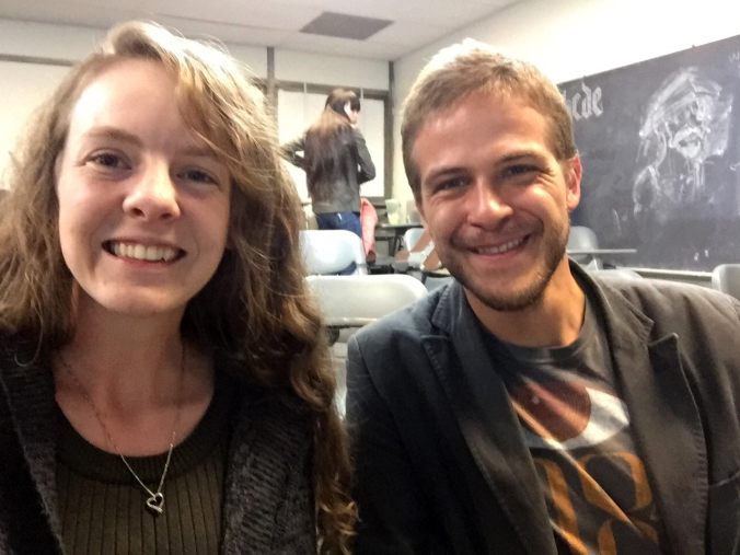 Shalene Holm & Janis Vernier smiling in CSULB classroom FA4-311