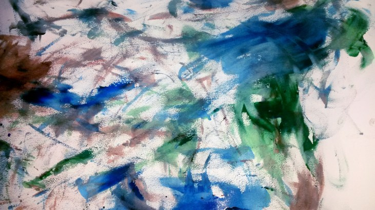a color field exploration as a finger painting on paper. The work features deep blues, browns and greens
