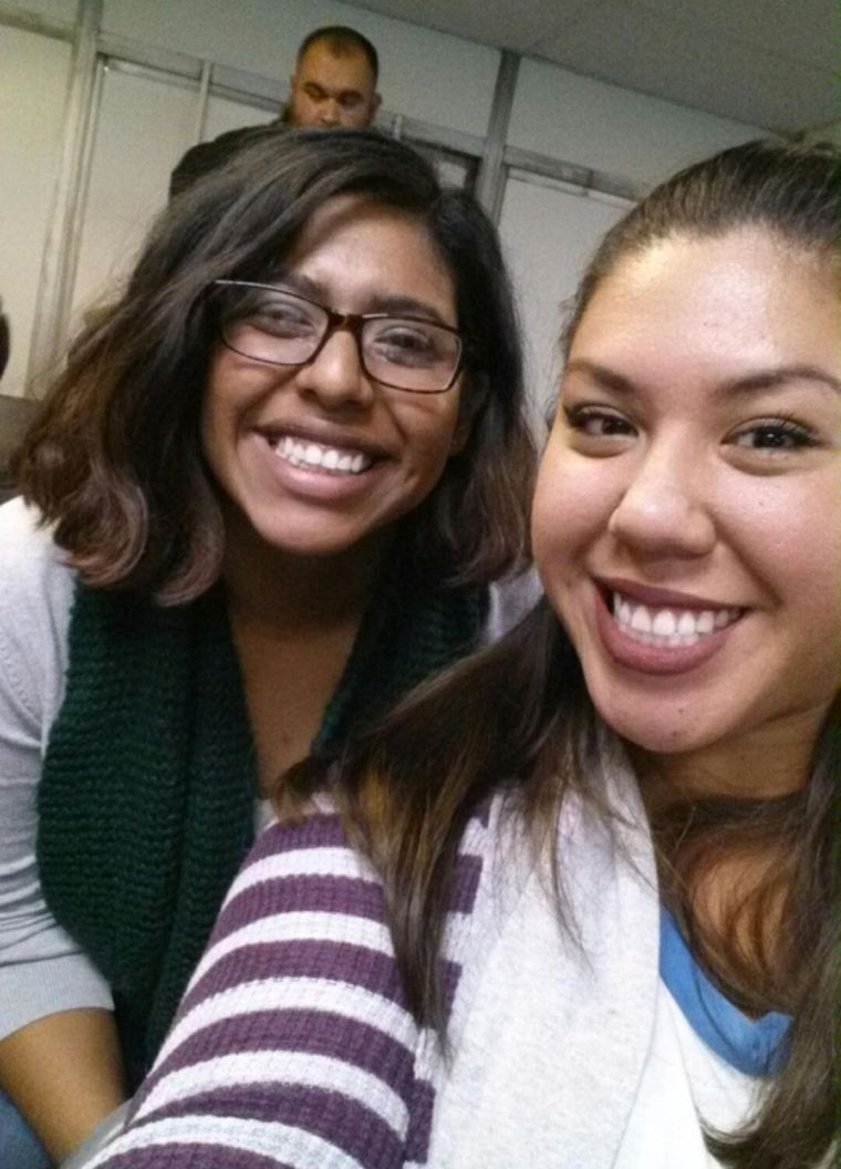 Yesenia Hernandez & Claudia Sanchez in CSULB classroom FA4-311