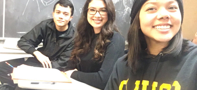 Miguel, Norma & Tayler in CSULB classroom FA4-311