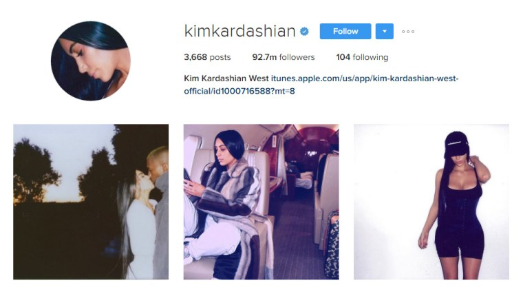 Screen cap of Kim Kardashian West's Instagram home page