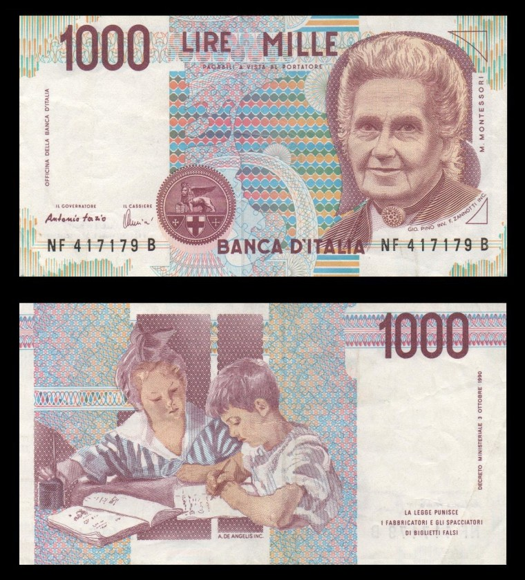 photo of a 1000 lire bill featuring an engraving of Maria Montessori