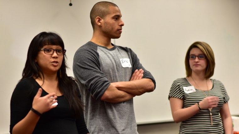 Camille Raquel, Eric Crenshaw & Vania Arriola speaking to the workshop group for TEDxCSULB in a Psychology Department classroom on the CSULB campus