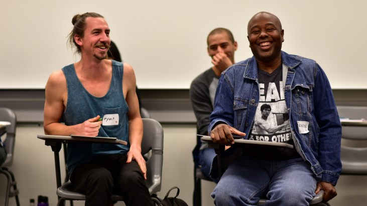 Ryan Serrano & Brandon Gamble sitting in a TEDxCSULB workshop