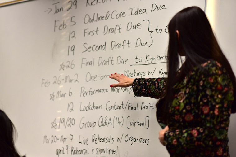 Kimberlee Weil at a white board going over TEDxCSULB development dates