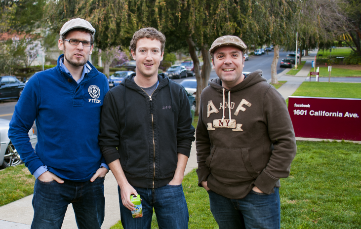 Curt Simon Harlinghausen, Mark Zuckerberg, Michael Praetorius standing outside Facebook offices at 1601 California Avenue