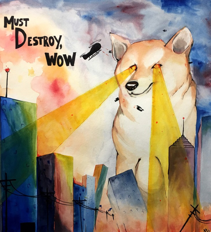 watercolor illustration of a giant dog with laser eyes destroying a city
