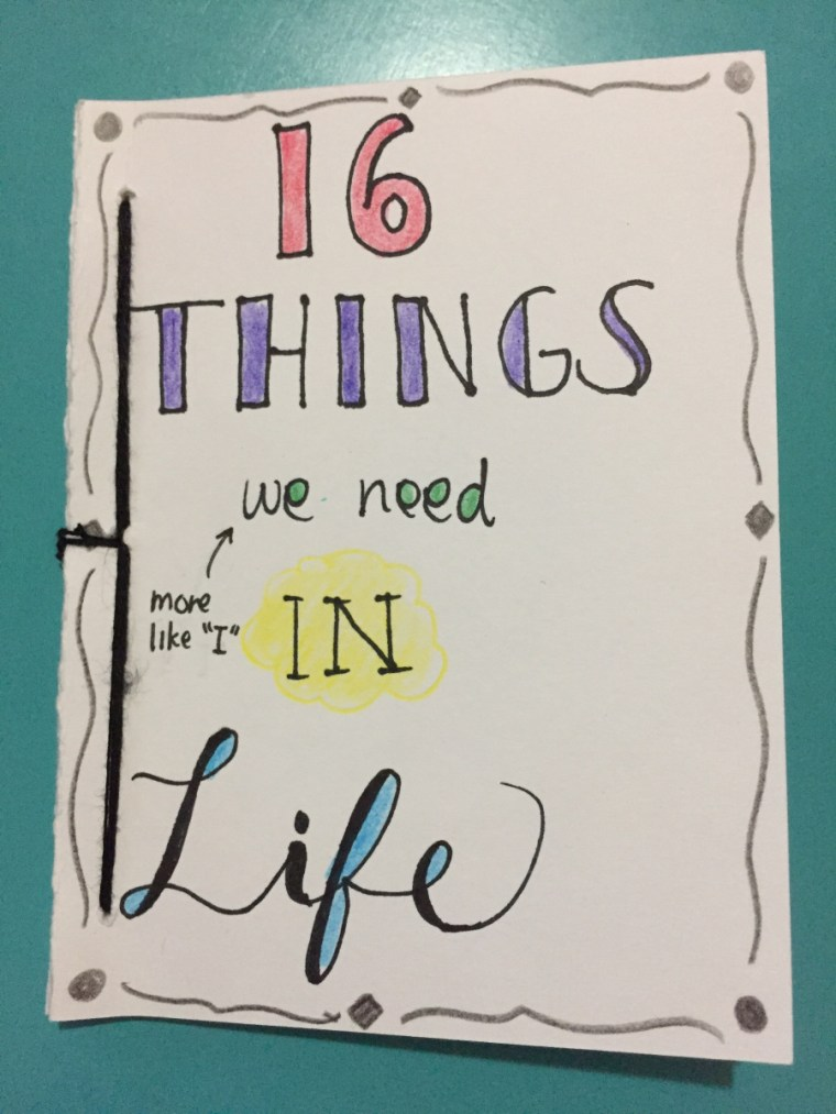 "cover of Kiara Lacambra's zine ""16 Things we need in Life"""