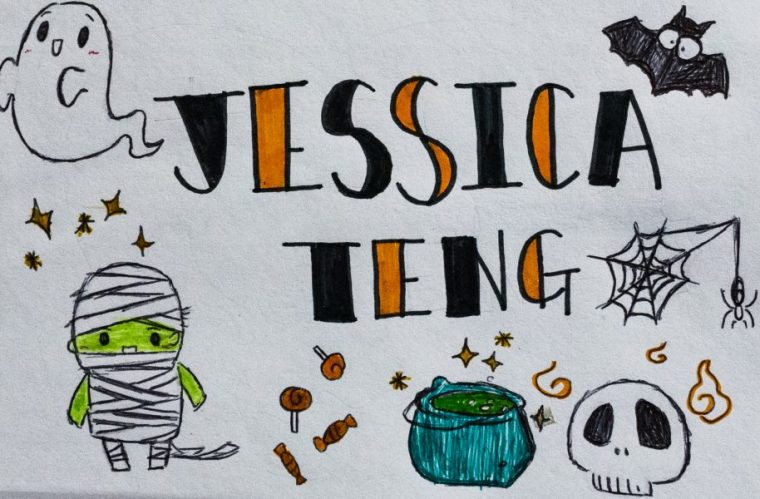 """""""ID Card"""" by Jessica Teng, featuring a Halloween theme with cute illustrated Halloween characters"""