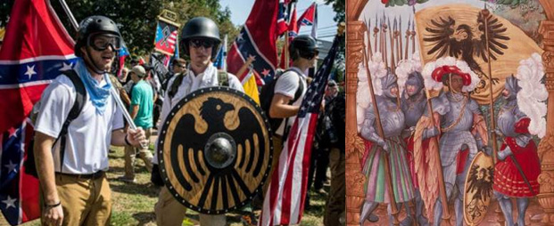 white supremacists holding a medieval-inspired shield