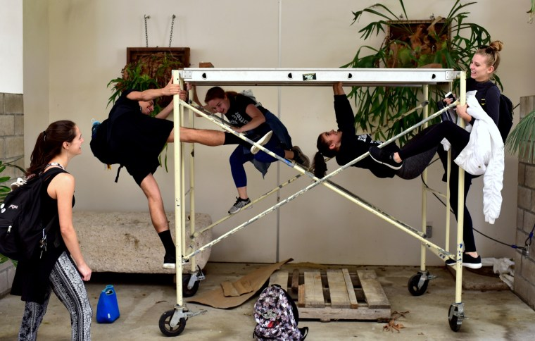 Toria Painter, Nathan Moreno, Kathryn Giometti, Makenna LaFortune & Antonella Redekosky in the CSULB School of Art, Art Gallery Courtyard, Spring 2017