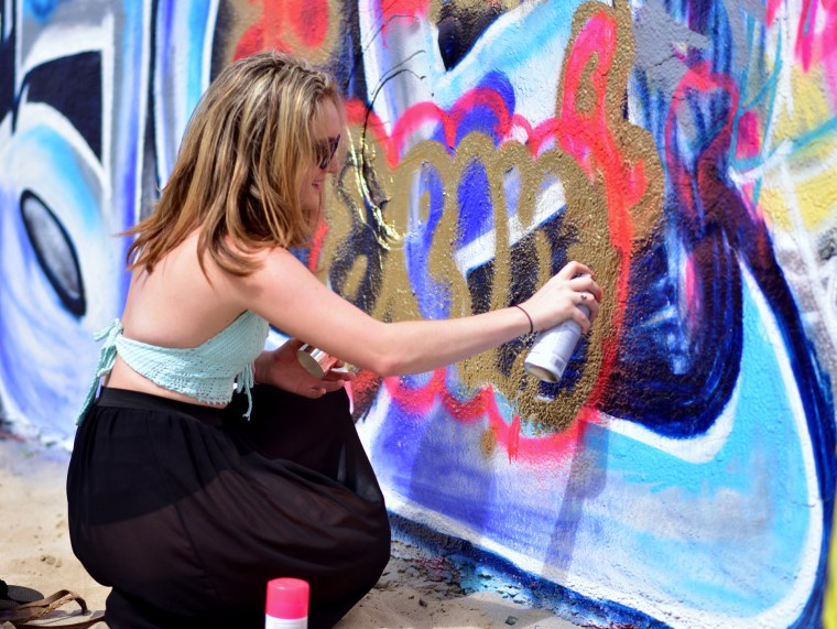 Erin Flores Graffiti Writing at the Venice Beach legal Art Walls
